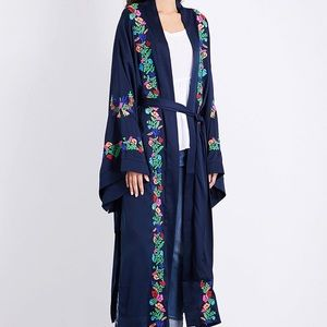Free People Blue Floral Embroidered Kimono